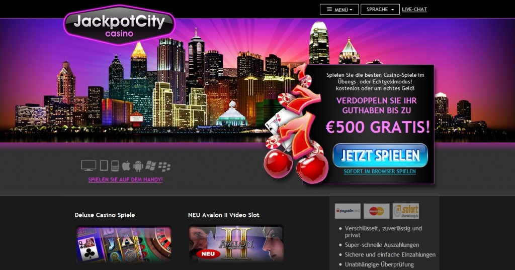 jackpot city homepage screenie